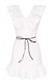 Мини-платье с контрастным поясом и оборками Sonia by Sonia Rykiel