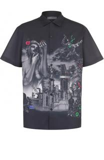 Хлопковая рубашка свободного кроя с принтом Lanvin