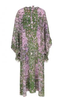 Шелковое платье свободного кроя с цветочным принтом Natasha Zinko