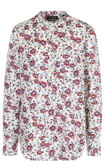Шелковая блуза с воротником-стойкой и цветочным принтом Isabel Marant