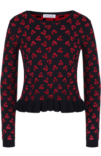 Укороченный пуловер с оборкой и ярким принтом Altuzarra