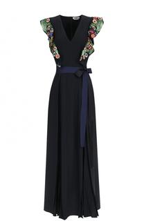Приталенное платье с декорированными оборками Fendi