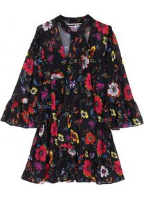 Мини-платье с цветочным принтом и воротником аскот MCQ