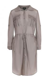 Приталенное платье-рубашка с накладными карманами Giorgio Armani