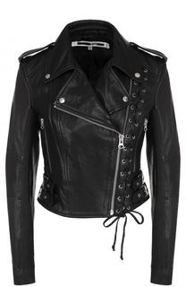 Кожаная куртка с косой молнией и декоративной шнуровкой MCQ