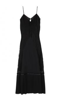 Платье-макси с плиссировкой на тонких бретельках MCQ