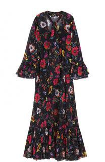 Платье-макси с цветочным принтом и воротником аскот MCQ