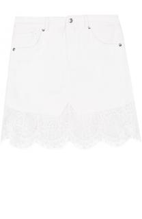 Мини-юбка с карманами и кружевной отделкой MCQ