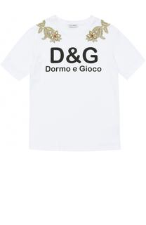 Хлопковая футболка с вышивками и кристаллами Dolce & Gabbana