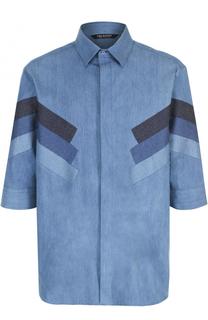 Рубашка свободного кроя из смеси хлопка и шелка с контрастной отделкой Neil Barrett