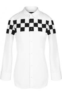 Блуза с укороченным рукавом и контрастной отделкой Dsquared2