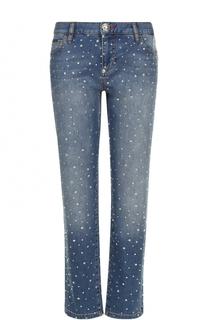 Укороченные джинсы со стразами и потертостями Philipp Plein