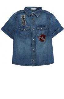 Рубашка из денима с аппликациями Dolce & Gabbana