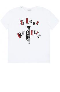 Хлопковая футболка с аппликациями Dolce & Gabbana