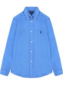 Льняная рубашка с воротником button down и логотипом бренда Polo Ralph Lauren