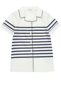 Хлопковая блуза с контрастными полосками и окантовкой Dolce & Gabbana