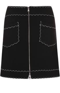 Мини-юбка А-силуэта с контрастной отделкой MCQ