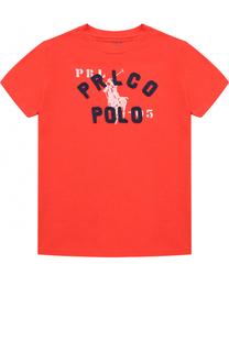 Хлопковая футболка с принтом и нашивками Polo Ralph Lauren