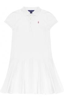 Платье из хлопка с логотипом бренда Polo Ralph Lauren