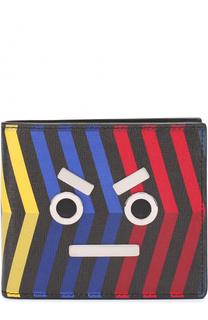 Кожаное портмоне с принтом и декоративной отделкой Fendi
