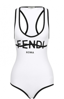 Слитный купальник с контрастной надписью Fendi