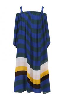 Шелковое платье в полоску с открытыми плечами Fendi