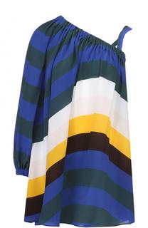 Шелковое платье асимметричного кроя в полоску Fendi