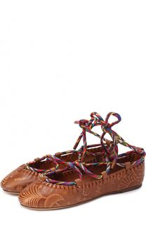 Кожаные балетки Santeria на шнуровке Valentino