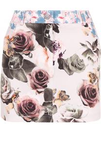 Джинсовая мини-юбка с цветочным принтом Paul&Joe Paul&Joe