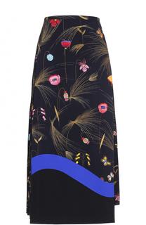 Юбка-миди с цветочным принтом и плиссированной вставкой Fendi