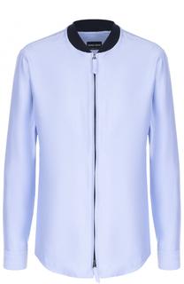 Хлопковая рубашка на молнии Giorgio Armani