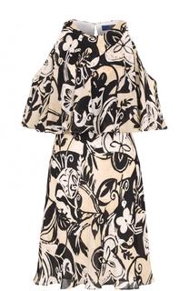 Шелковое платье с открытыми плечами и оборкой Polo Ralph Lauren