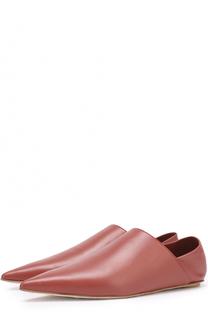 Кожаные лоферы с мягким задником Marni