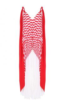 Шелковое плиссированное платье-миди Fendi