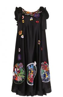 Платье-миди прямого кроя с декоративной отделкой Fendi
