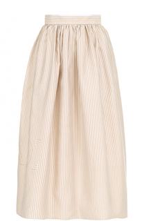 Юбка-миди в полоску с широким поясом Fendi