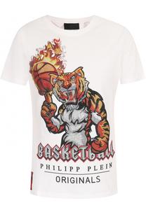 Хлопковая футболка с контрастной отделкой Philipp Plein