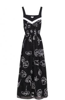 Приталенное платье-макси с контрастным принтом Escada Sport