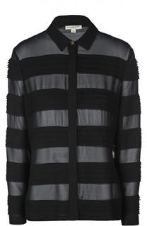 Шелковая полупрозрачная блуза в полоску Burberry