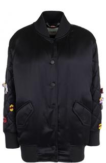 Бомбер с контрастной вышивкой на спинке Fendi