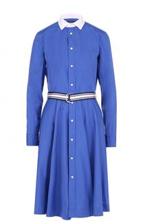 Платье-рубашка с контрастным воротником и поясом Polo Ralph Lauren