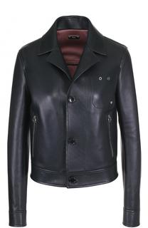 Кожаная куртка на пуговицах с отложным воротником Bally