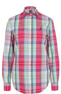 Блуза свободного кроя в клетку Polo Ralph Lauren