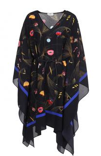 Шелковая туника с цветочным принтом и поясом Fendi