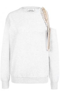 Свитшот прямого кроя с открытым плечом и декоративной отделкой Forte Couture