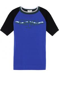 Футболка прямого кроя с логотипом бренда и круглым вырезом Fendi