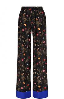 Шелковые брюки прямого кроя с цветочным принтом Fendi