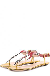 Кожаные сандалии Yoko с декором Gucci