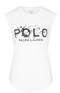 Хлопковый топ без рукавов с контрастной надписью Polo Ralph Lauren
