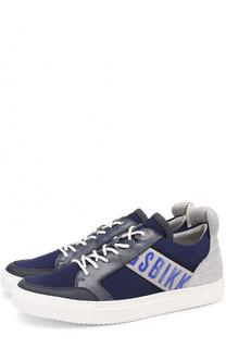 Комбинированные кеды на шнуровке с контрастной отделкой Dirk Bikkembergs